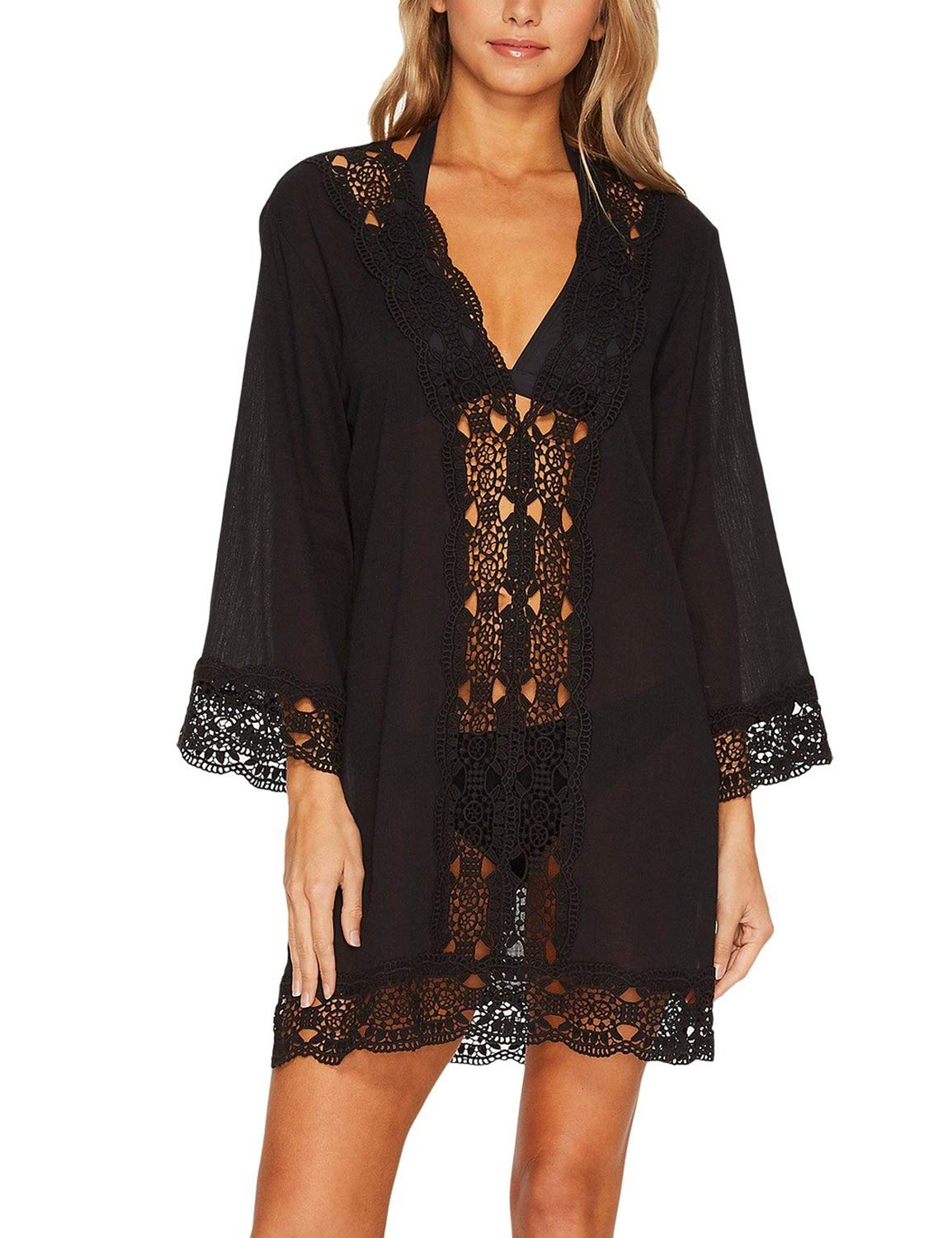 Women's V Neck Top Chiffon Pullovers Kimono Bell Sleeve Lace Cover Ups Green