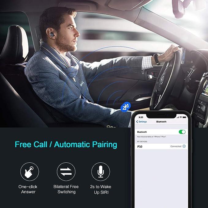 4UMOR Auriculares Inalámbricos Bluetooth 5.0 Mini Estéreo de Música In-Ear Micrófono Integrado IPX7 para iPhone iOS y Android con Caja de Carga de 2200mAh: ...
