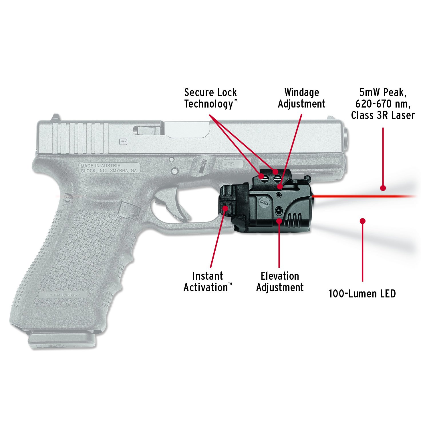 Crimson Trace CMR-205 Rail Master Pro Universal Red Laser Sight + Tactical Light by Crimson Trace (Image #1)