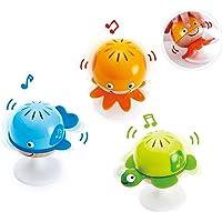 Hape Put-Stay Rattle Set | Three Sea Animal Suction Rattle Toys, Baby Educational Toy Set, Multi, 5'' x 2'' (E0330)