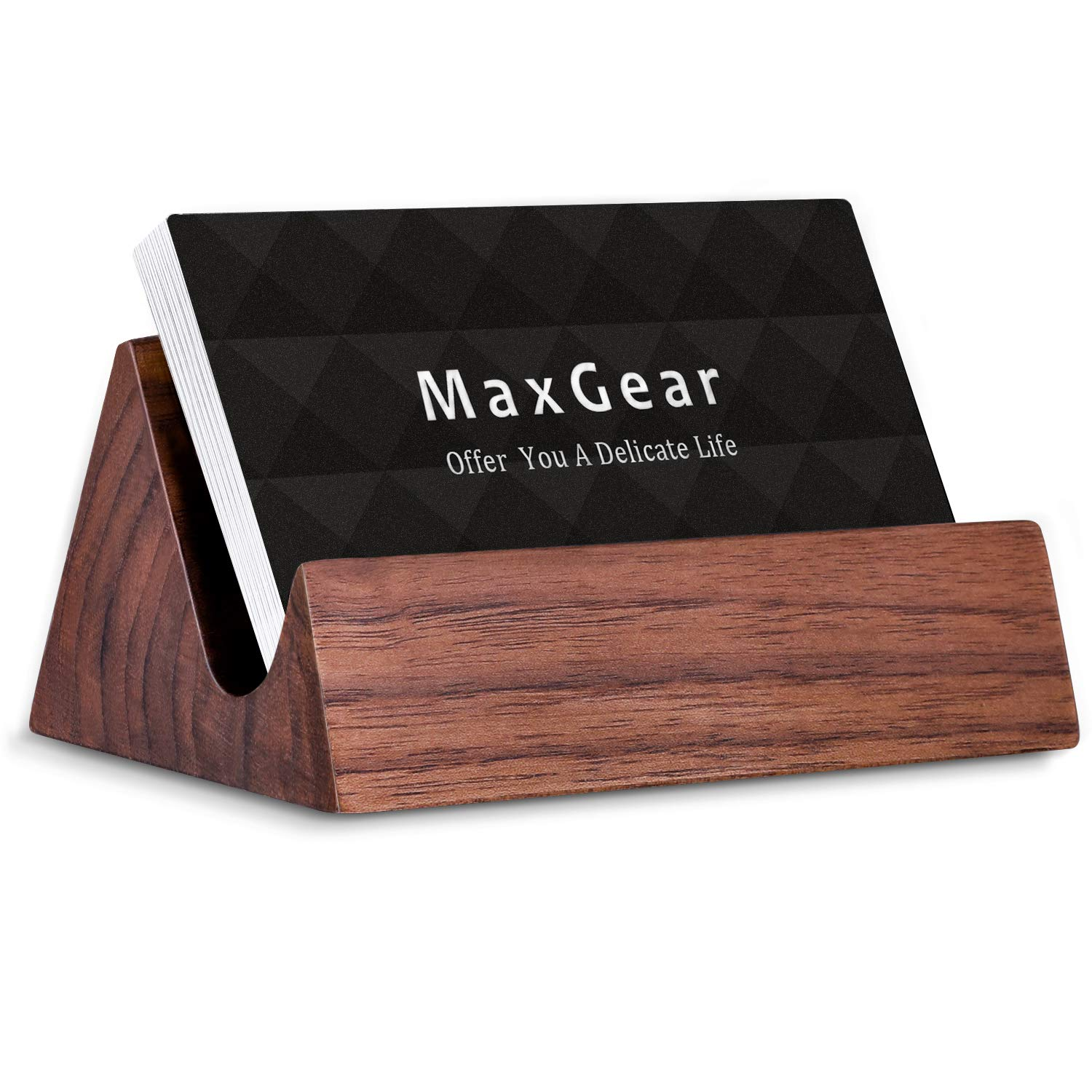 MaxGear Wood Business Card Holder Desk Business Card Holder Stand Wooden Business Card Display Holders for Desktop Business Cards Stand for Office and Home, Walnut,3.8x2.6x1.8 in, Mountain