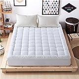 Luxury mattress Collection 100% Cotton 300 Thread Mattress Pad Cover Down Hotel Use Alternative Pillowtop Mattress Topper(Twin,Printing)
