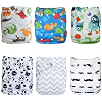 ALVABABY Cloth Diaper Pocket Washable Adjustable Reuseable Boy Girl Nappies Cover 6 Pack With 12 Inserts Gift Sets 6DM08