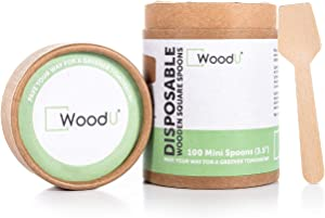 """WoodU Wooden Miniature Spoons 3.5"""" Disposable Square End (Pack of 100) Perfect for Crafts, Sugar Scrubs, Tasting and Sampling"""