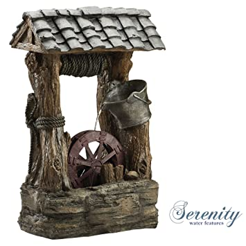 Rustic Style Garden Wishing Well Water Feature With Tipping Pail U0026 Water  Wheel For Indoor U0026