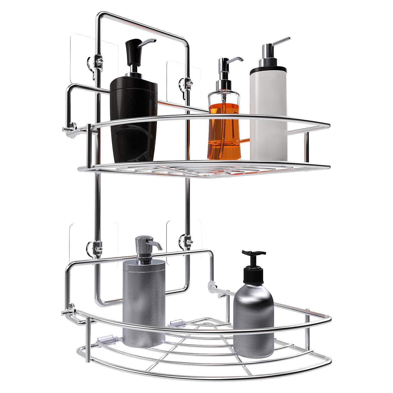 Vdomus Shower Caddy 2 Tier Bathroom Corner Shelf Organizer Polished Chrome No drilling Needed Basket Holder for Kitchen VMHK2018FBSUS