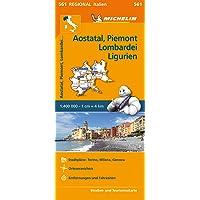 Michelin Aostatal, Piemont, Lombardei und Ligurien: Straßen- und Tourismuskarte 1:400.000 (MICHELIN Regionalkarten, Band 561)