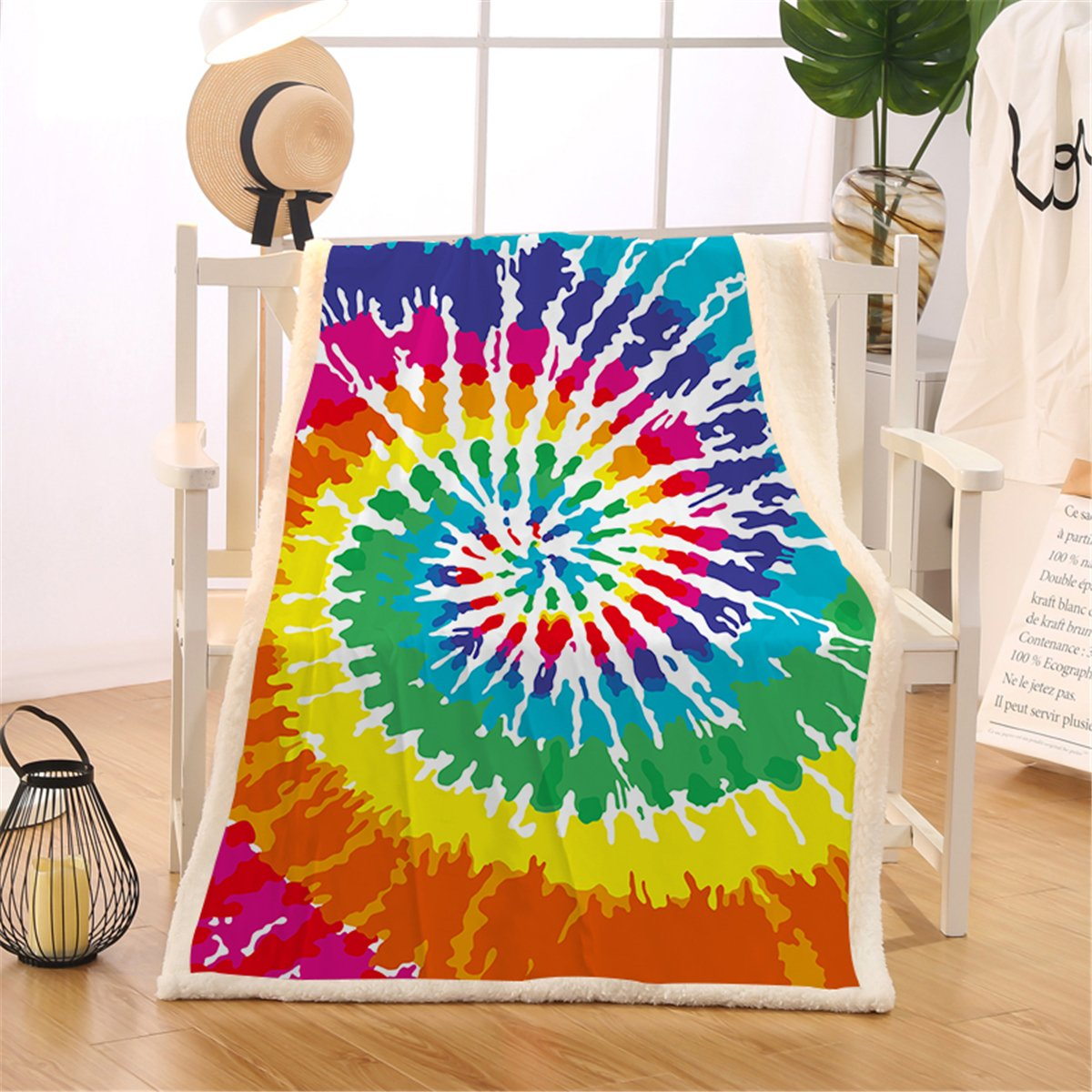 25cb43c95a1296 Amazon.com  BlessLiving Tie Dye Sherpa Throw Blanket Hippie Fleece Blanket  Rainbow Bed Blanket Camping Blankets Warm for Sofa Couch Bed (Twin