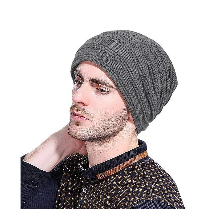 8e4bb68667ae9 Beret para Hombre Ropa Deportiva para Hombre Esquí De Punto Fácil Sombrero  De Crochet De Invierno