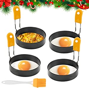 Egg Rings, Ezeso Poached Egg Ring 4 Pack Stainless Steel Round Egg Cooker Rings Egg Pancake Maker Mold Non Stick Circle Coating Breakfast Tool with Anti-scalding Handle and Oil Brush (Orang Set)