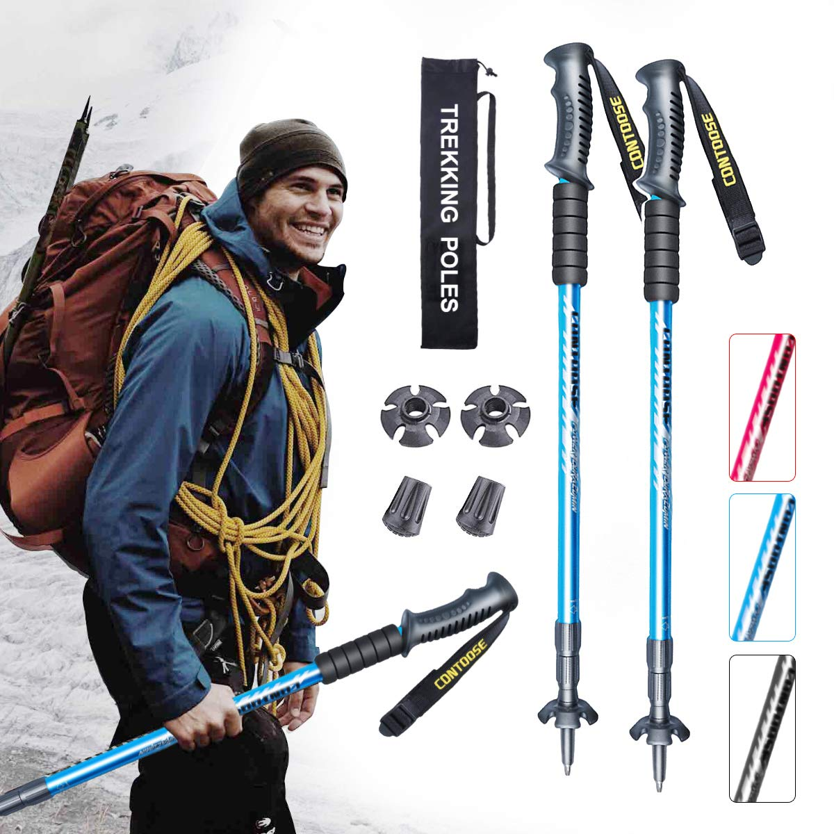 XJD Trekking Pole 2 Pack Telescopic Hiking Poles Aluminium 6061 With Antishock And Quick Lock System Ultralight Adjustable for Hiking Camping Mountaining Backpacking Walking Trekking