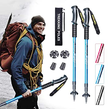 Barrageon Wanderst/öcke Trekkingst/öcke aus Kohlefaser Carbon Ultraleicht 172g Antishock Nordic Walking St/öcke 3-teilig 60-135cm Teleskopst/öcke f/ür Trekking Wandern Klettern Bergsteigen