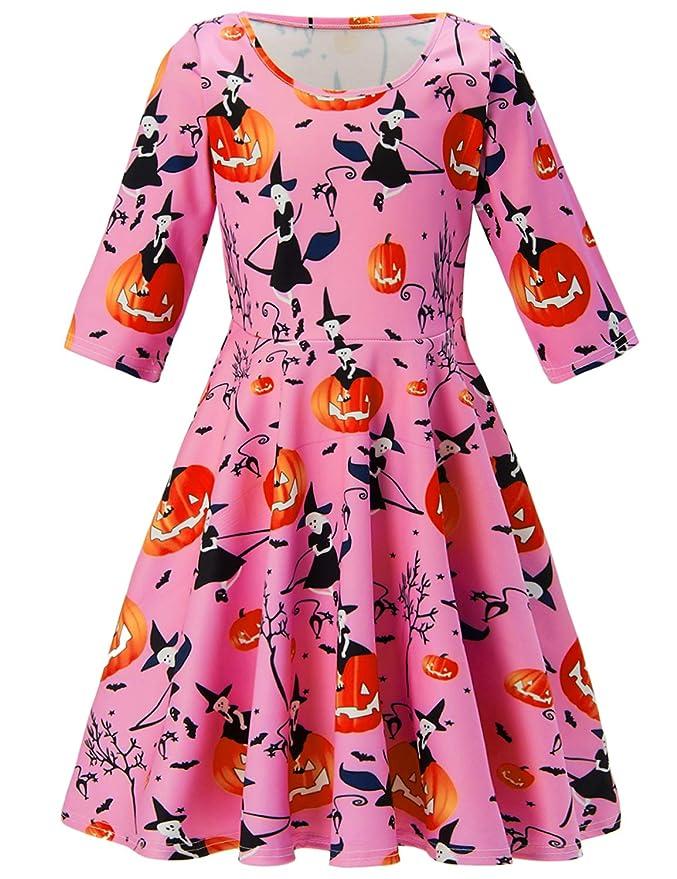 Baby Girl Dresses Halloween Pumpkin Print Causal Cute Clothes Toddler Mid-Sleeve Skirt Pink Holiday Party Dresses Kids Child Toddler Skirt Summer Autumn Sundress 6-7 Years