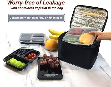 Amazon.com: Contenedores de comida preparada con 3 ...