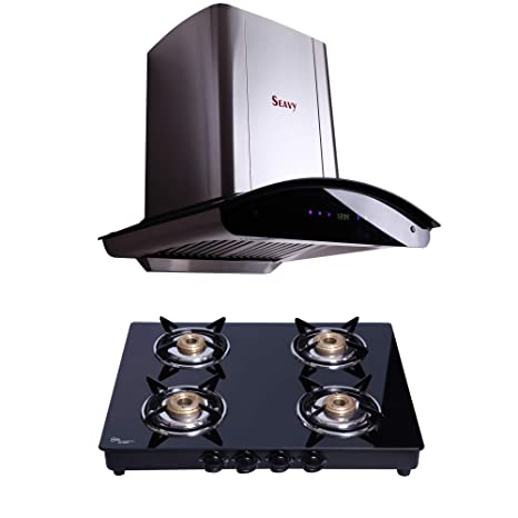 Seavy Auto Clean Kitchen Chimney Combo with Gas Stove, 60cm 1200M3/hr Suction Chimney + 4 Burner Cooktop (Zeroun 60)