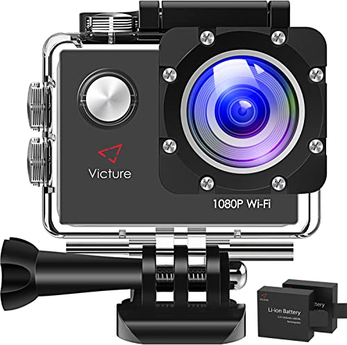 Victure AC400 1080P HD 12MP WiFi Action Camera 30M Underwater Max 170 Wide-Angle Sports Cam with 2 Rechargeable 1050mAh Batteries and Mounting Accessories Kits