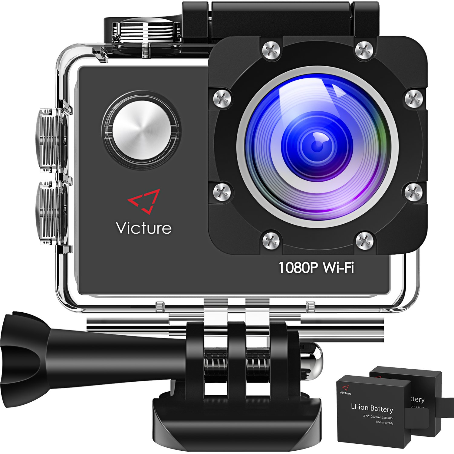 Victure Action Camera WiFi 1080P Full HD 12MP Underwater Cam 2 Inch LCD 170 Degree Wide-Angle 30M Waterproof Sports Camera with 2 Rechargeable 1050mAh Batteries by Victure