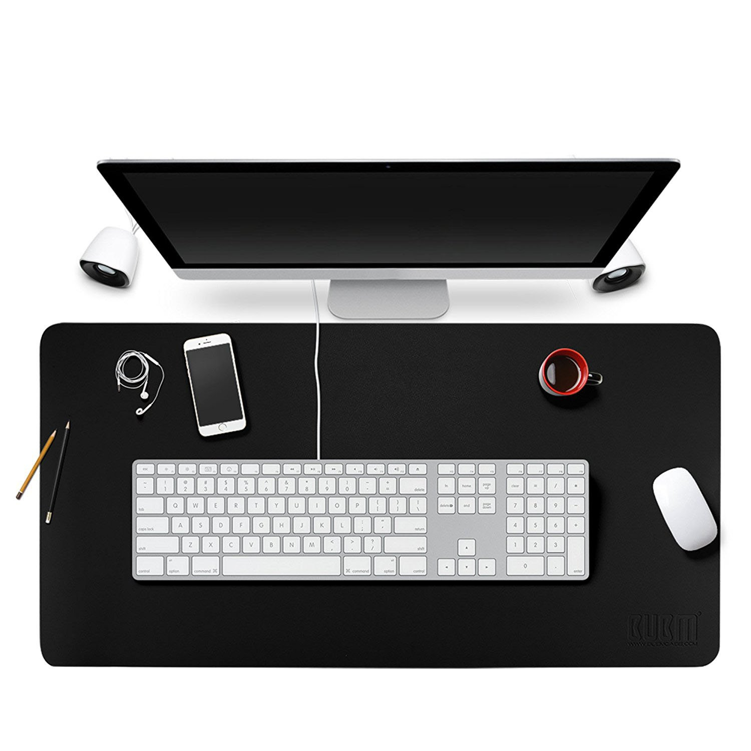 BUBM Desk Pad Protecter 35'' x 18'', PU Leather Desk Mat Blotters Mouse Pad Organizer with Comfortable Writing Surface(Black)