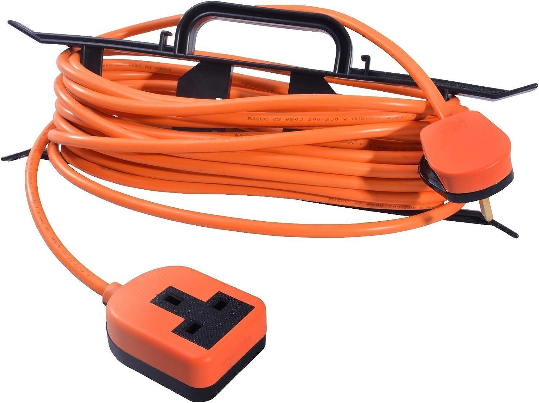 Outdoor Garden Orange Extension Lead 10m 1 Gang Socket Masterplug Heavy Duty 13A