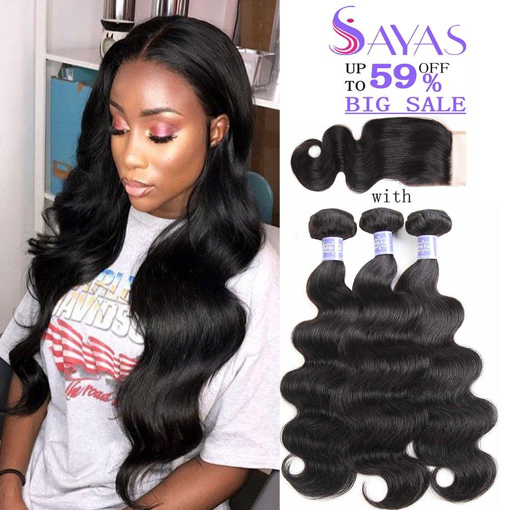 Sayas Hair 8A Grade Brazilian Body Wave Human Hair 3 Bundles With Closure 4x4 Inch Free Patr 100g(3.5oz)/bundle with 25g(0.9oz)Closure Total 325g(11.4oz) (10 12 14 with 10)inch by Sayas (Image #1)
