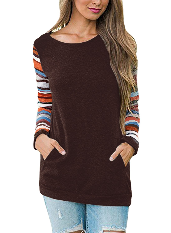 HARHAY Women's Cotton Knitted Long Sleeve Lightweight Tunic Sweatshirt Tops Coffee M/US6-8