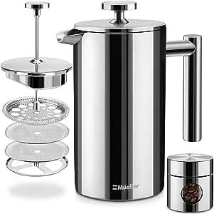 Mueller French Press - Cafetera de acero inoxidable 310, con doble aislamiento, sistema de filtración de 4 niveles, sin café molido, apto para lavaplatos