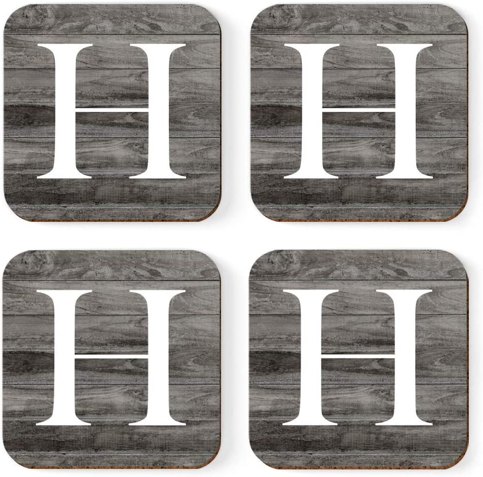 Andaz Press Square Coffee Drink Monogram Coasters Gift Set, Initial Letter H, Dark Gray Farmhouse Rustic Wood, 4-Pack, Wedding Bridesmaid Groomsman Gifts, Housewarming Christmas Gift Ideas