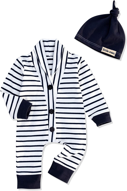 Baby Boy Clothes Newborn Infant Ontfit Long Sleeve Romper + Hat 2PCS Outfit Set