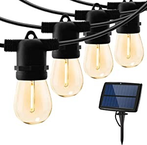 Solar String Lights Outdoor Waterproof LED Shatterproof 25FT Heavy Duty Outdoor String Lights Solar Powered with 10 Plastic Hanging S14 Edison Bulbs Solar Light Balcony Fence Patio Light String Lights