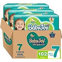 BabyJoy Compressed Diamond Pad, Size 7, 3XL, 18+ kg, Mega Box, 102 Diapers