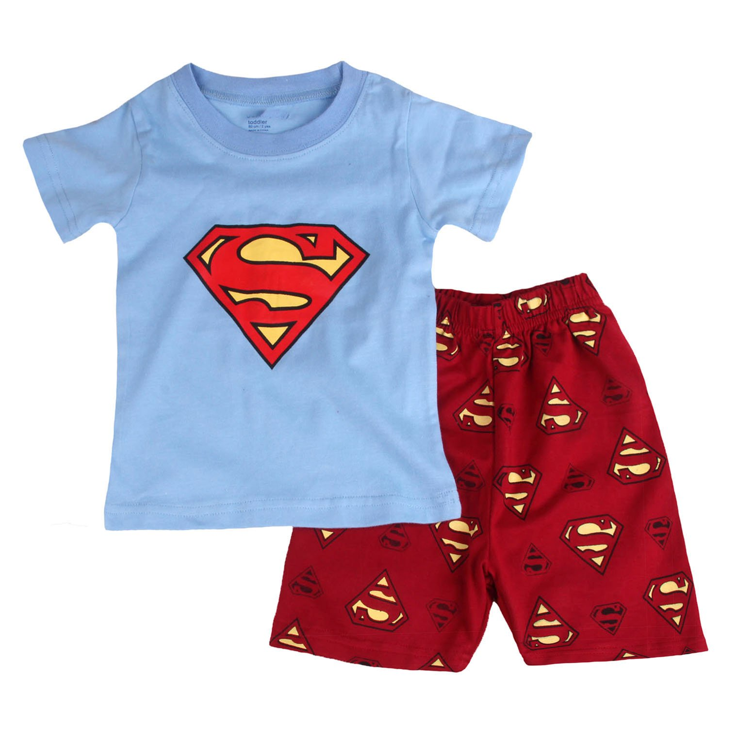 ''Big S '' Boys Shorts 2 Piece Pajama Set 100% Cotton Blue,Size 7-8Yrs