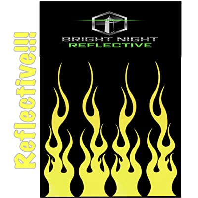 """Flame Decals Reflective (2) 1.25""""x5.25"""" Great for Helmets, Motorcycles, Computer Stickers, Phone, Tablet, Hard hat (Yellow Reflective): Automotive"""