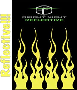 "Flame Decals Reflective (2) 1.25""x5.25"" Great for Helmets, Motorcycles, Computer Stickers, Phone, Tablet, Hard hat (Yellow Reflective)"