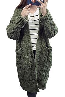 ce4f3b8b669def MAGIMODAC Damen Cardigan Lang Strickcardigan Winterjacke Strickjacke  Strickmantel Mantel Pullover Pulli Offener Ausschnitt mit Taschen 34