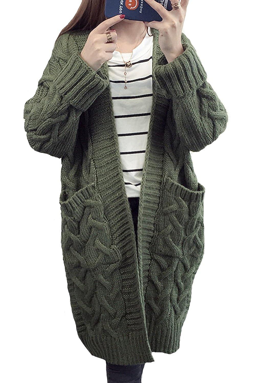 MAGIMODAC Damen Cardigan Lang Strickcardigan Winterjacke Strickjacke Strickmantel Mantel Pullover Pulli Offener Ausschnitt mit Taschen 34 36 38 40 42 44 Armee Grün)