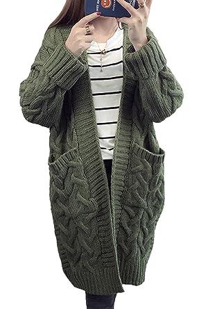 4e5888dfc6 MAGIMODAC Damen Cardigan Lang Strickcardigan Winterjacke Strickjacke  Strickmantel Mantel Pullover Pulli Offener Ausschnitt mit Taschen 34