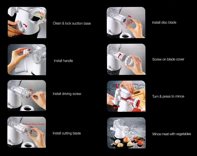 Manual Meat Mincer Grinder & Vegetable Shredder, Biscuit Machine Cookie Maker (White)