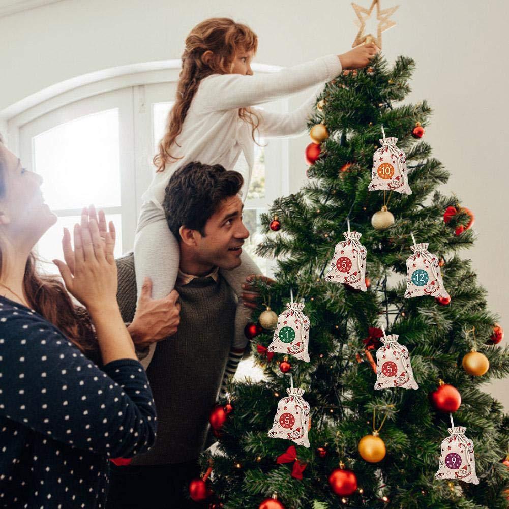 24 D/ías Colgando Calendarios De Adviento Bolsa De Almacenamiento De Regalo De Saco De Chocolate De Caramelo DIY Christmas Countdown Decorations Esplic Calendario De Adviento De Navidad Bolsas 2019