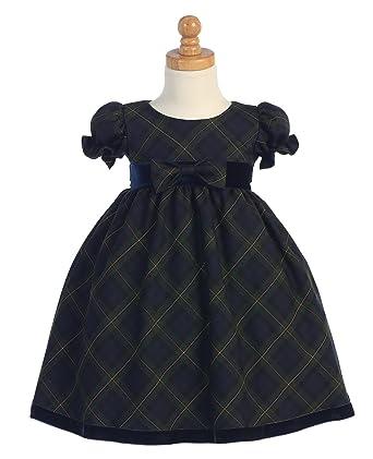 Amazon Com Plaid Holiday Christmas Baby Dress With Velvet Trim