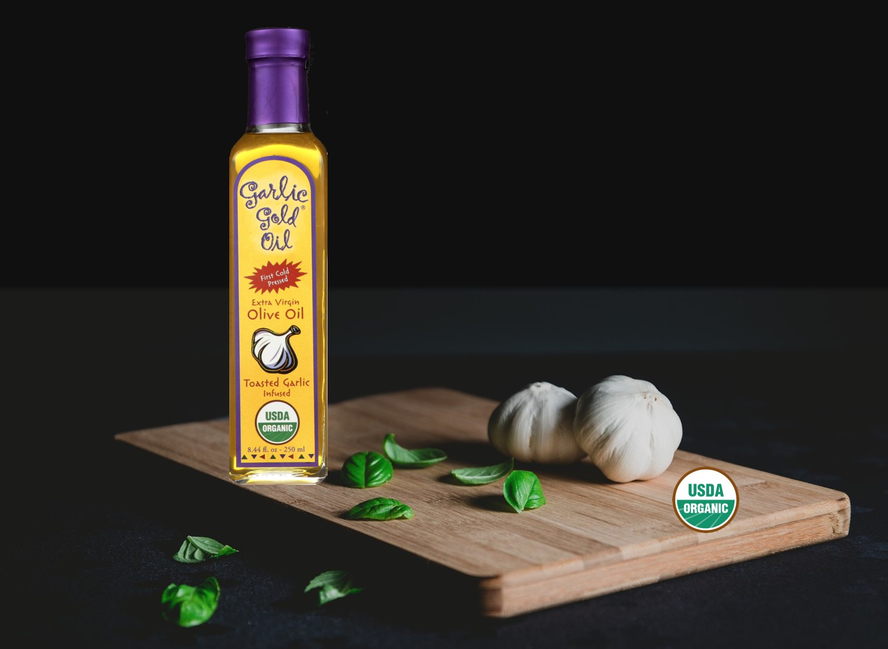 USDA Certified Organic Extra Virgin Olive Oil - Infused with toasted Garlic, Low FODMAP, by Garlic Gold (Pack of 6) by Garlic Gold (Image #9)
