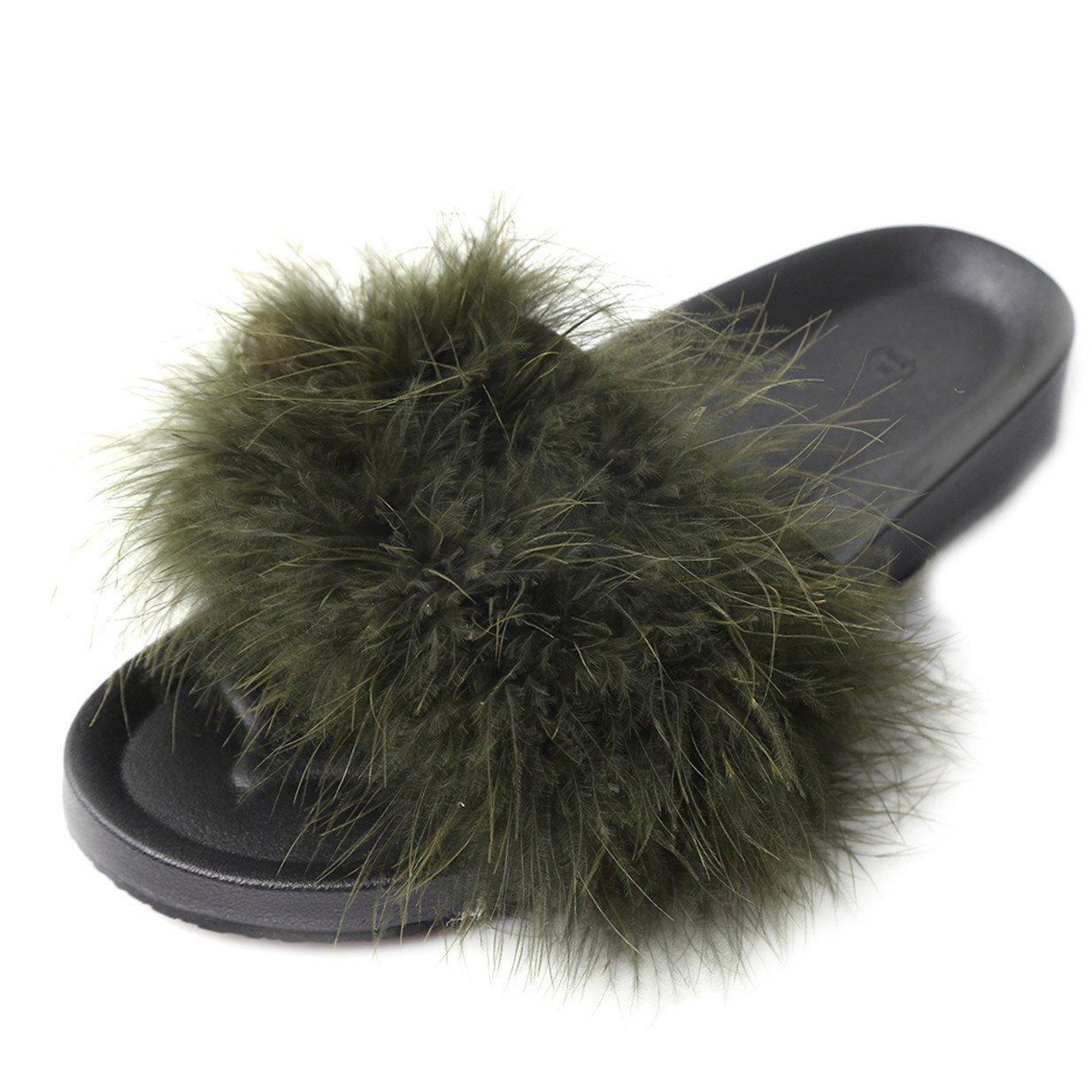 Lalang Frauen Schouml;n Gefieder Mouml;bel Schuhe Sandalen Slipper im Freien Flip-Flops Sandalen  40 EU|Gr眉n