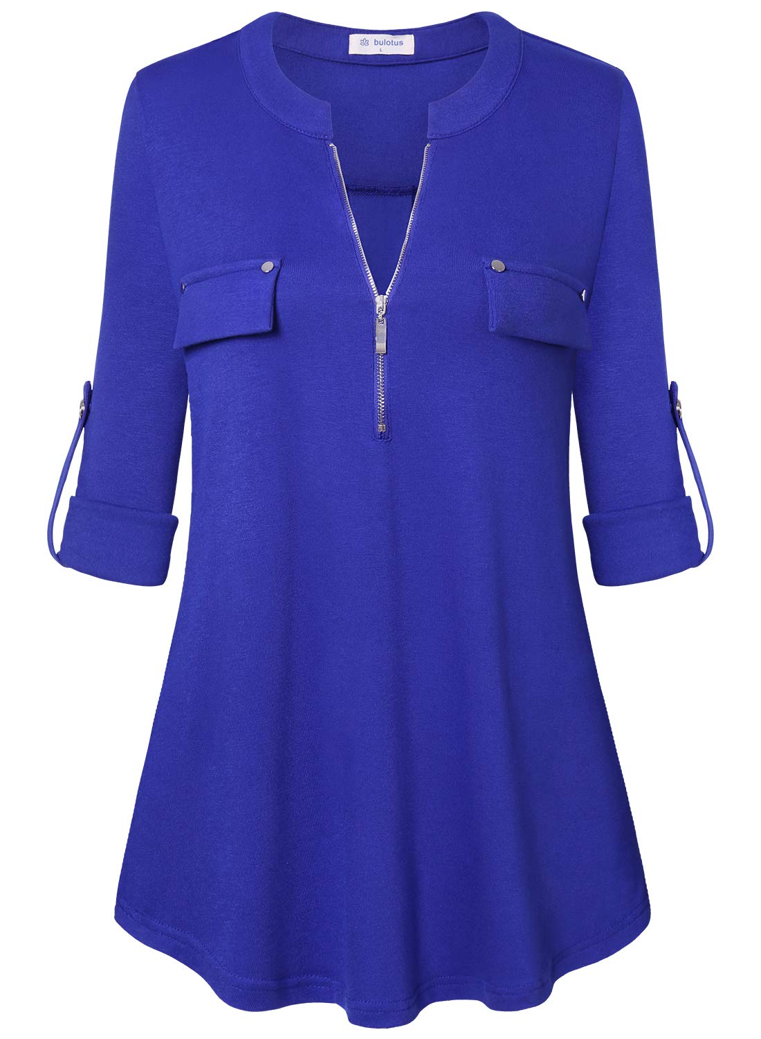 Bulotus Ladies Zip Front 3/4 Sleeve Tunic Tops for Leggings for Women,Blue,XXX-Large by Bulotus
