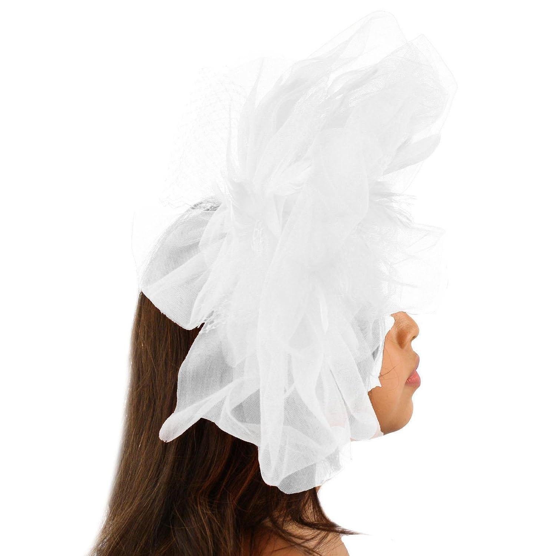eb77b5b759128 SK Hat shop Big Tulle Mesh Feathers Fishnet Headband Fascinator Bridal  Cocktail Hat SK-Hat