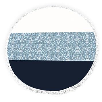 Yun Nist Toallas de playa redondas con borlas chateau rayas florales damasco textura flecos círculo grueso gitano alfombra de picnic yoga: Amazon.es: Hogar