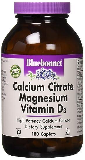 Citrato de Calcio Magnesio Vitamina D3, 180 Capsulas - Bluebonnet Nutrición: Amazon.es: Salud y cuidado personal