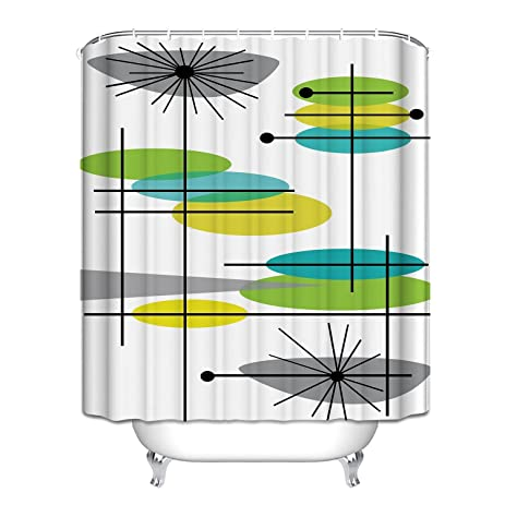 Mid Century Modern 44 Waterproof Polyester Fabric Bathroom Shower Curtain