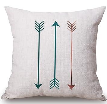 Amazon.com: BLUETTEK Funda de almohada cuadrada de lino ...