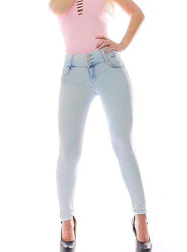 FARINA® 1635 Pantalon vaquero de mujer, Push up/Levanta cola, pantalones elasticos colombian,color azul claro,talla 34-48/XS-3XL