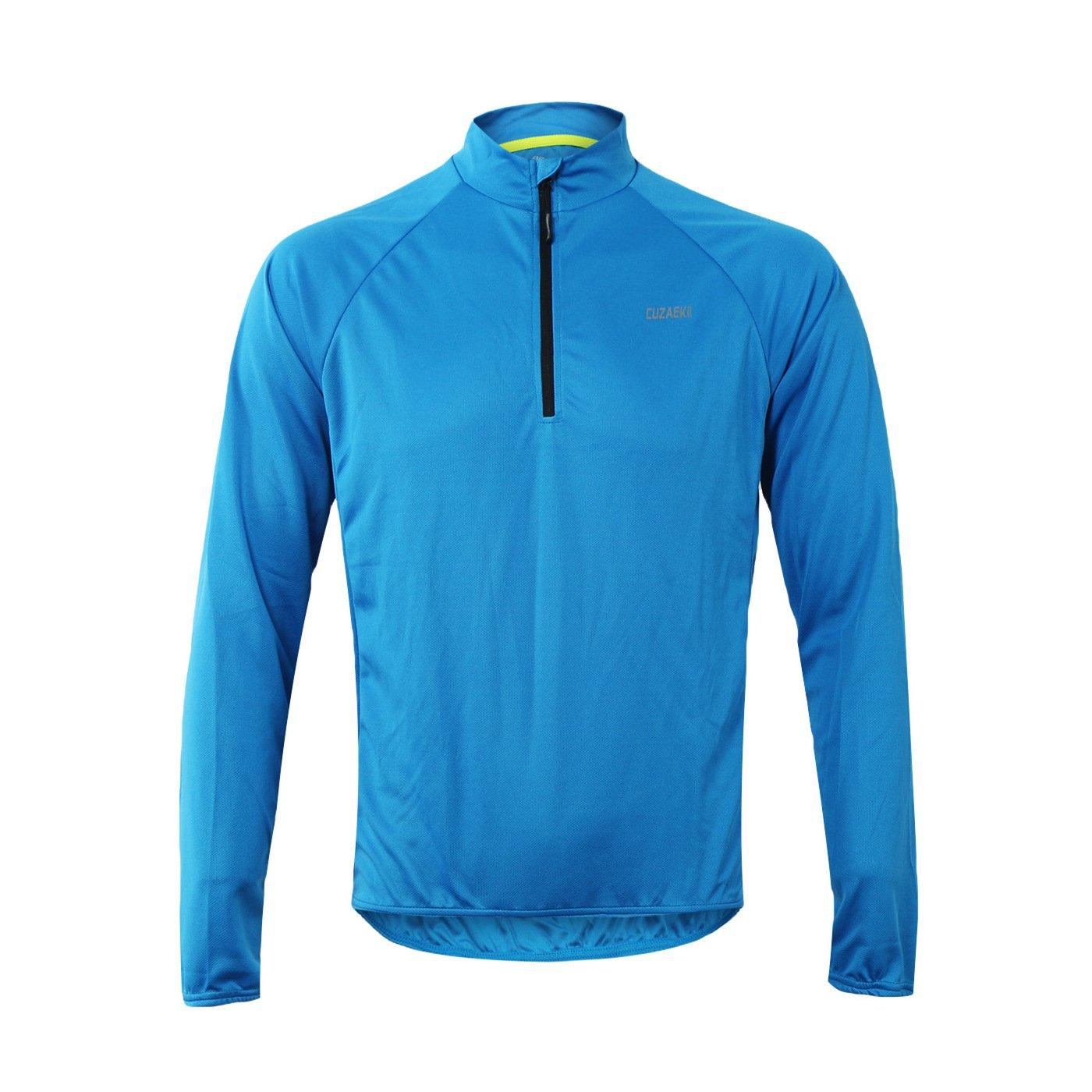 Cuzaekii Herren Lange Ärmel Cycling Jersey MTB Bike Shirt Kleidung für Sommer & Cool Wetter