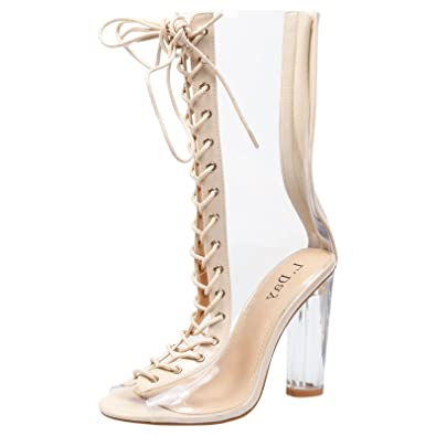 Womens Ladies Mid Perspex Clear Heel Ankle Calf Boots Shoes Size Uk 3-8